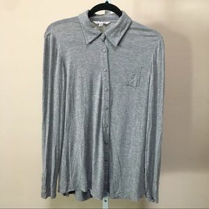 Cabi Grey Button Up Soft LS Short (S)
